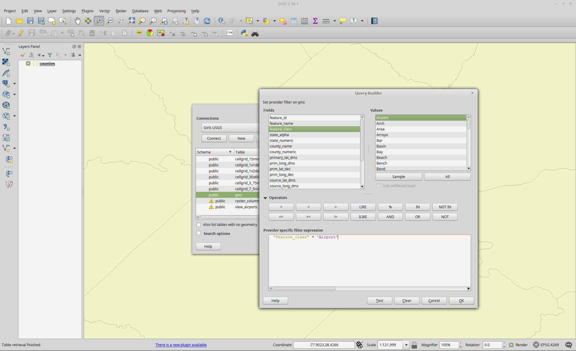 Filtering Data from a Geospatial Database using QGIS | Brian's Geek Blog