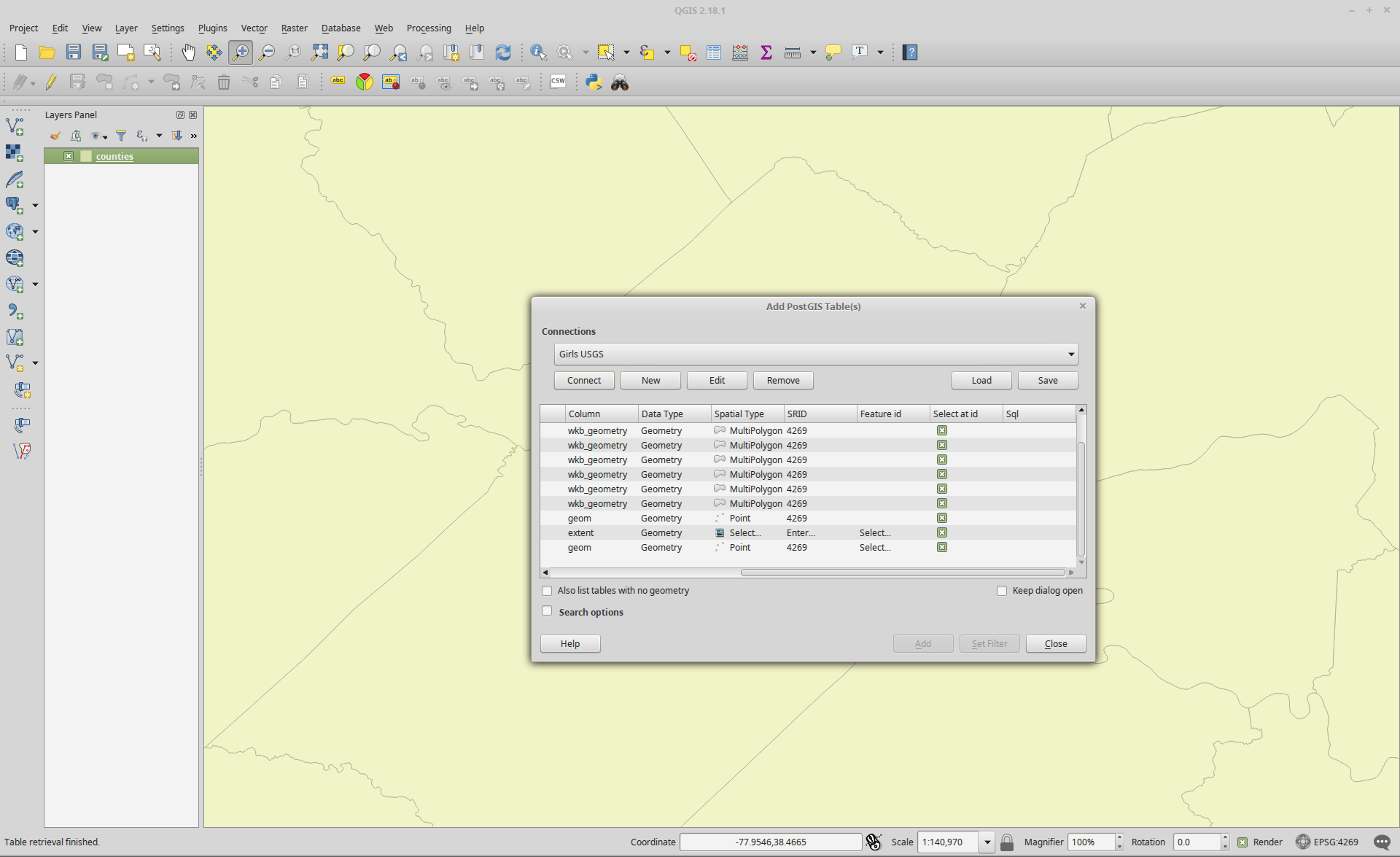 Filtering Data from a Geospatial Database using QGIS   Brian's Geek Blog