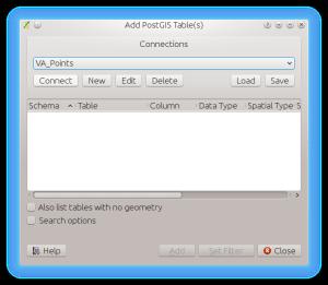 Add PostGIS Table Dialog
