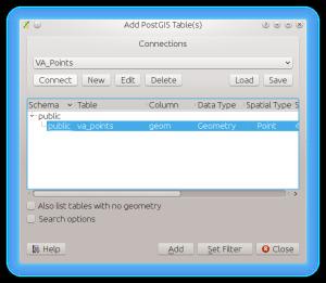 PostGIS Add Layer Dialog